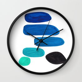 Colorful Mid Century Modern Pop Art Minimalist Style Teal Blue Aquamarine Bubbles White Background Wall Clock