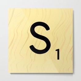 Scrabble S - Large Scrabble Tile Letter Metal Print