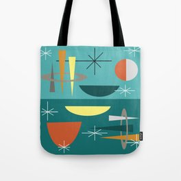 Turquoise Mid Century Modern Tote Bag