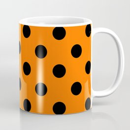 XXL Black on Pumpkin Orange Polka Dots Coffee Mug