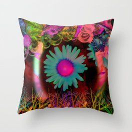 Tripping Daisies Throw Pillow