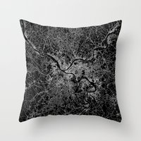 pittsburgh Throw Pillows featuring pittsburgh map by Line Line Lines