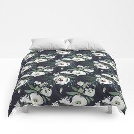 Blush pink white green black watercolor modern floral Comforters