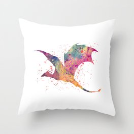 Dragon Art Colorful Watercolor Art Gift Fantasy Art Dragon Slayers Art Throw Pillow