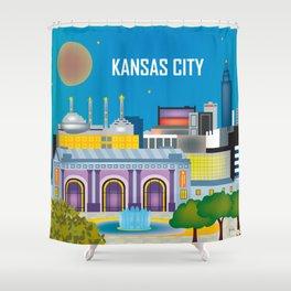 Kansas City, Missouri - Skyline Illustration by Loose Petals Shower Curtain