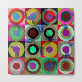 modern mid century, Graphic art, geometric art, circles, modern painting, abstract p Metal Print