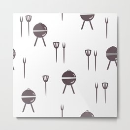 Seamless pattern with grill and kitchen utensils. Metal Print