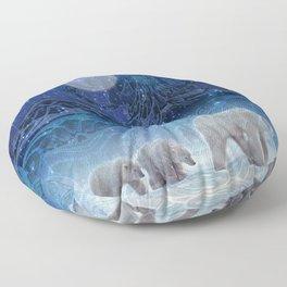 Arctic Journey of Polar Bears Floor Pillow