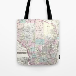 Vintage Map of Wisconsin (1855) Tote Bag