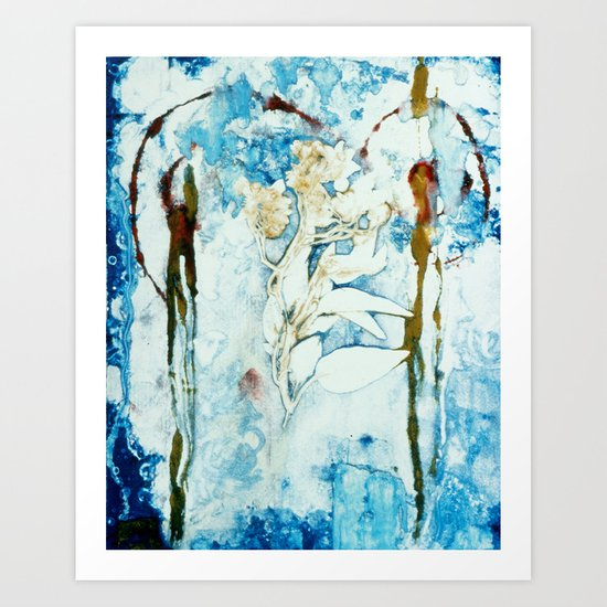 Painterly Floral Monoprint Art Print