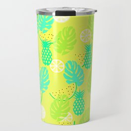Watermelons and pineapples in yellow Travel Mug