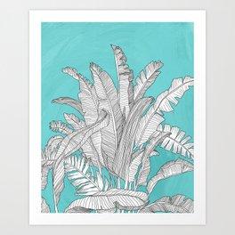 Banana Leaves Illustration - Blue Art Print