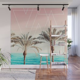 Modern tropical palm tree sunset pink blue beach photography white geometric triangles Wall Mural