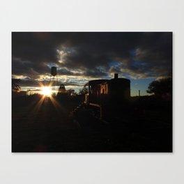 Sun Rays, Silo, and Train Car Canvas Print