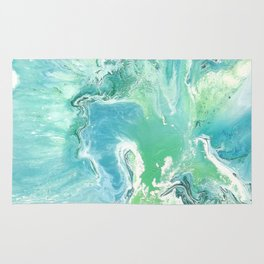 Breathe Blue Abstract Print Rug