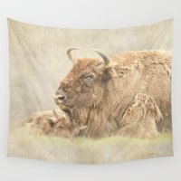 bison Wall Tapestries featuring Bison Baby by Peaky40