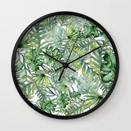Watercolor Exotic Leaves Wall Clock