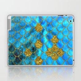 Blue Aqua Turquoise And Gold Glitter Mermaid Scales -Beautiful Mermaidscales Pattern Laptop & iPad Skin