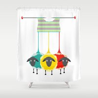 knitting Shower Curtains featuring Knitting sheep by Popmarleo