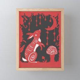 Folky Moon Gazing Rabbit Papercut Framed Mini Art Print