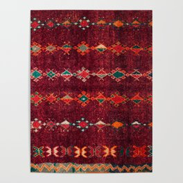 -A8- Colored Traditional Moroccan Carpet Artwork. Poster