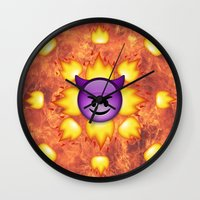 emoji Wall Clocks featuring Devil Emoji by jajoão