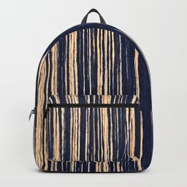 Vertical Scratches on Dark Blue Metal Texture Backpack