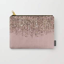 Blush Pink Rose Gold Bronze Cascading Glitter Carry-All Pouch