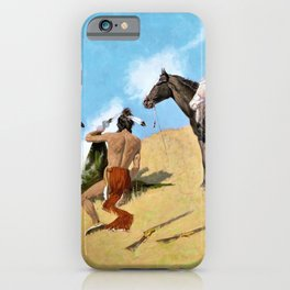 Frederic Remington - The Smoke Signal - Digital Remastered Edition iPhone Case