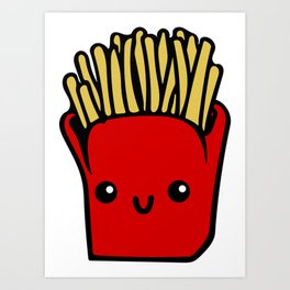 fries fun Cartoon Chips, Character, Characters, Cute, Fast Food Art Print