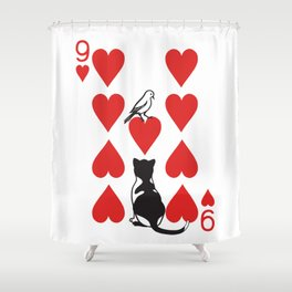 Clipped Wings Deck: The 9 of Hearts Shower Curtain