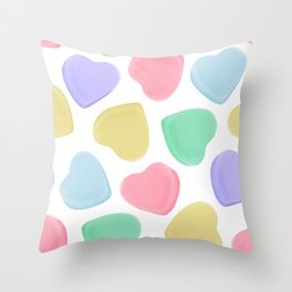 Candy Conversation Hearts Pattern Throw Pillow