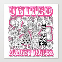 United Against Cancer - Breast Cancer Awareness - Zentangle Women Canvas Print