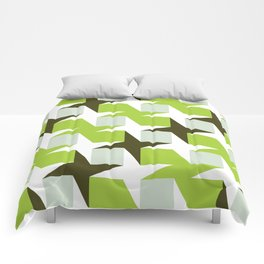 Geometric Pattern #96 (green squares white stars) Comforters