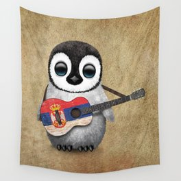 Baby Penguin Playing Serbian Flag Guitar Wall Tapestry