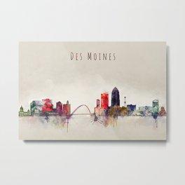 Colorful Des Moines City Skyline Metal Print