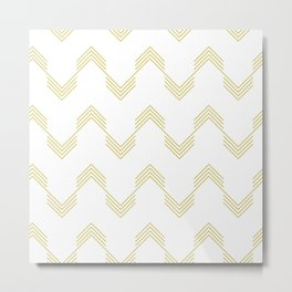 Simply Deconstructed Chevron Mod Yellow on White Metal Print