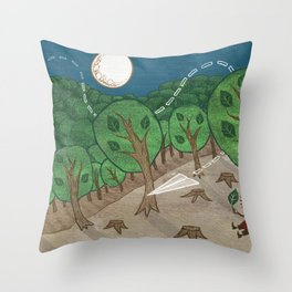 The little big forest Throw Pillow