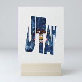 Utah Typographic Flag Map Art Mini Art Print