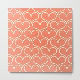 Coral pink heart Metal Print