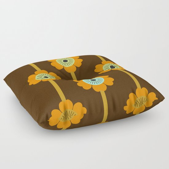 Cool Cat - minimal retro vibes floral flower power 1970s style throwback colors decor 70 s Floor ...