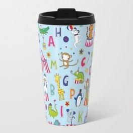 Circus Animal Alphabet - multi on pale blue Travel Mug