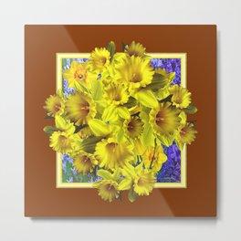 Decorative Golden Yellow Daffodils Coffee Brown Art Metal Print