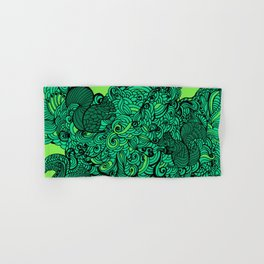 Squirrels Zentangle Drawing Green Hand & Bath Towel