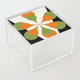 Mid-Century Modern Art 1.4 - Green & Orange Flower Acrylic Box