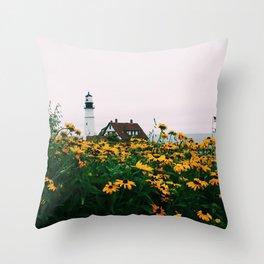 Portland Headlight and Flowers Throw Pillow