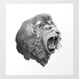 Grayscale Lion Art Print