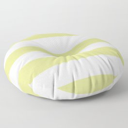 VA Lime Green - Lime Mousse - Bright Cactus Green - Celery Hand Drawn Fat Horizontal Lines on White Floor Pillow
