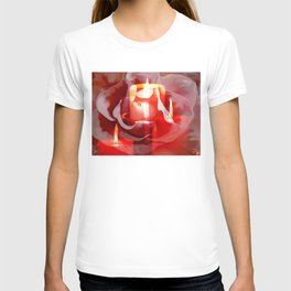 Candles Rose And Cross By Annie Zeno  T-shirt