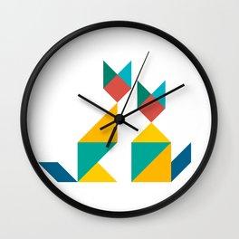 Tangram Cats 1 Wall Clock